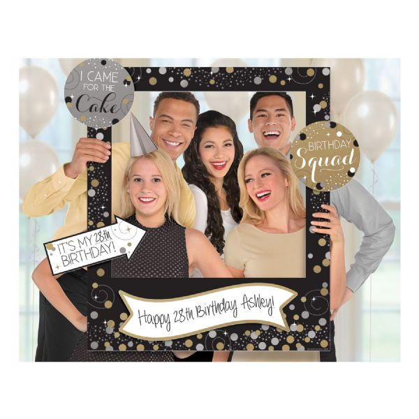 Gold Celebration Add-An-Age Giant Photo Frame with Props